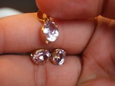 22 KT SOLID YELLOW GOLD Morganite Earrings and Pendant Set HANDMADE BRAND INDIA