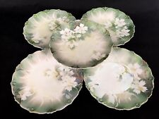 RS Prussia China White Dogwood Green Luster Set of Five 5 Fruit Bread Plates A