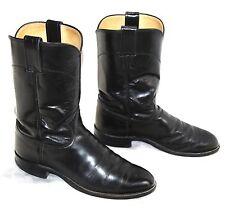 Justin 3133 Black Leather  Western Cowboy Roper Boots Men's SZ 7 D