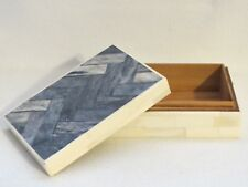 Real Carved Bone Trinket Jewelry Box with Blue Lid & Wood Lining by Tozai