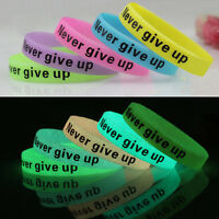 Silicone Rubber Bracelet Cuff Wristband Wrist Band 12mm Glow In Dark Kids Gifts