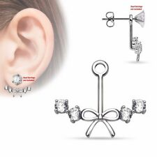 One Piece Ribbon Center w 4 CZs Womens Add On Earring Cartilage Barbell Jacket