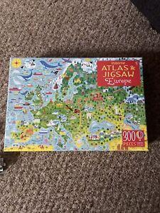 Europe (Usborne Atlas and Jigsaw) includes Book 300 pieces