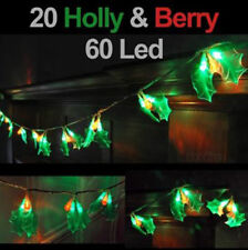 20 HOLLY & BERRY 60 LED CHRISTMAS STRING LIGHTS