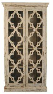 MADE TO ORDER Mandala Hand Craved Indian Bookshelf Cabinet With Glass creamwash