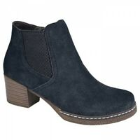 Cipriata MONALISA Ladies Womens Suede Leather Casual Ankle Boots Dark Navy