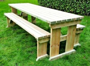 Wooden Picnic Table Set, 4ft 5ft 6ft 7ft 8ft