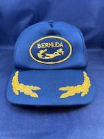 Vintage 1980s Bermuda Snapback Blue Trucker Hat Cap Vtg 80s Gold Leaf