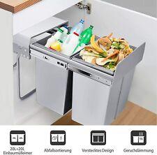 Abfalltrennsystem Müllsammler 20L+20L Mülltrenner Eimer Auszug Einbau Trennung