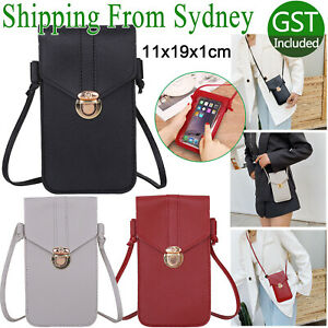 3Color Touch Screen Cell Phone Bag Crossbody Clear Window Mobile Phone Bag Purse