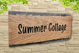 Personalised Oak Carved  Wooden Home House Name Sign Cabin Plaque Outdoor