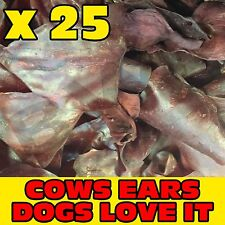 25 x TASTY SMOKED FLAVOUR COW COWS BEEF EAR EARS DOG PET TREAT CHEW SNACK VALUE