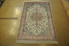 Hand-Knotted Rug 5' x 8' Authentic Silk Tabriz Ivory New