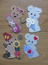 4 Large Assorted birthday bear card toppers get well ballet bouquet gardening A
