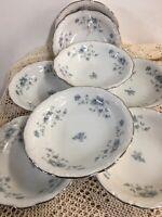 "Johann Haviland Bavaria Blue Garland Fruit Berry Bowl Plate Saucer 5 1/4"" Set 8"