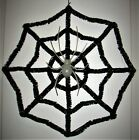 """halloween spider tinsel covered web with spider 14"""" square"""