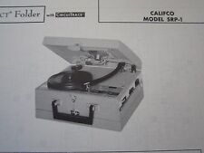 CALIFCO SRP-1 PHONOGRAPH - RECORD PLAYER PHOTOFACT