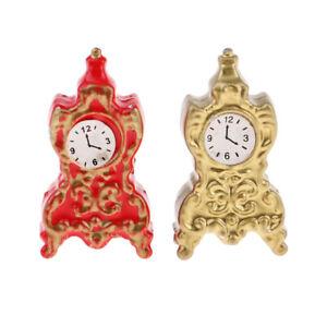 1/12 Dollhouse Decor Miniature Living Room Vintage Style Metal Alarm Clock Model