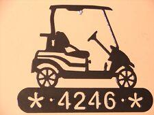 GOLF CART METAL HOME ADDRESS SIGN WALL DECOR HOUSE ART