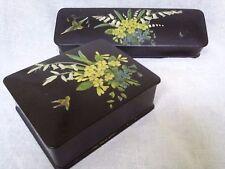 Japanese lacquered box hand painted jewelry box arts crafts brush box bird flora