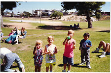 Vintage 80s PHOTO Woman In Back w/ Camera Taking Pic Of Little Boys Girl At Park