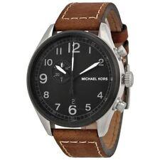 Michael Kors Men's MK7068 'Hangar' Black Dial Brown Leather Strap Wrist Watch