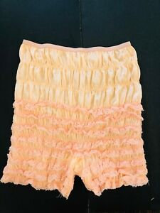 Vtg MCM Granny Panty Underwear Bloomer Lace Ruffles Pin Up Lingerie Peach Large