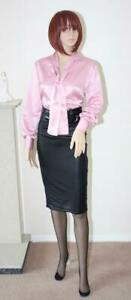 SEXY BABY PINK LIQUID SATIN PUSSY BOW SECRETARY GOVERNESS BLOUSE Size 16