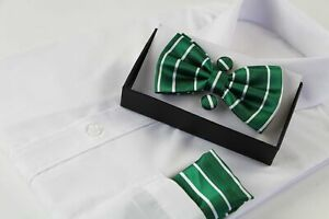 Mens Green Textured Stripe Matching Bow Tie, Pocket Square & Cuff Links Set