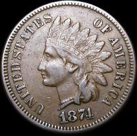 1874 Indian Cent Penny ---- NICE Details L@@K  ---- #D613