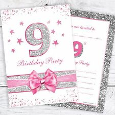9th Birthday Invites - Pink with photo effect glitter - A6 Size (Pack 10)