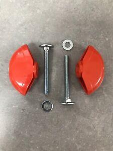2x QUALCAST Lawnmower Handle Wing Nut & Bolt Fixing Kit Red / Orange FAST POST