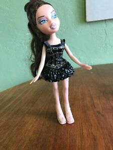 Bratz Doll Black Pleather Dress Gold Mini Party Clothes Shiny