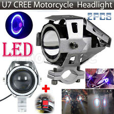 2PCS CREE U7 LED 125W Motorcycle Headlight Fog Lights Driving Spot Lamp + Switch
