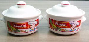 4 PC Set 2 CAMPBELLS Kids SOUP BOWLS & LIDS Handled Lunch Dishes Vegetables 1993
