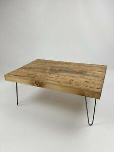 Coffee Table, Hairpin Legs, Rustic Chunky Handmade Solid Wood