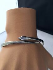 Early Irac middle eastern Niello sterling silver snake bracelet bangle