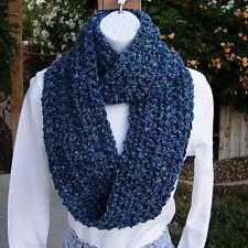 INFINITY SCARF LOOP COWL Light & Dark Blue, Handmade Crochet Knit Winter Circle