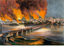 Currier & Ives Reproduction: Fall of Richmond, Va 1865 - : Fine Art Print