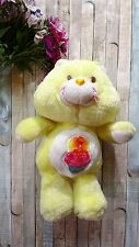 """Vintage 1983 Kenner Care Bears 12"""" Birthday Bear Yellow with Cupcake Plush Toy"""