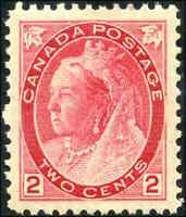 Canada #77a mint XF OG NH 1899 Queen Victoria 2c carmine Numeral Die II