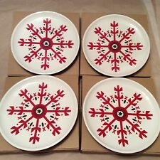 4 Snowflake Plates Dinnerware Christmas And All Winter Longaberger New