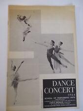 SCHOOL OF PERFORMING ARTS 1964 DANCE CONCERT PROGRAM NEWSPAPER CLIPPINGS