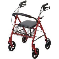 Drive Medical Folding Walker Rollator 4 Wheels W/ Padded Seat & basket 10257RD-1