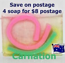 HANDMADE NATURAL TRANSPARENT SOAP ~  Carnation ~ 100GRAMS ~ 4 for $8 Postage