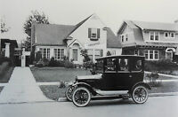"""1920 Ford Model T center door in front of a home 12 By 18"""" Black & White Picture"""