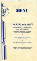 "1954 Menu - Holland House - M.L. Holland & Family - 11"" x 7"""