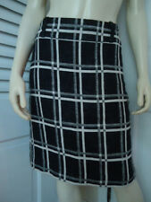 ANN TAYLOR Skirt Sz 6 Cotton Linen Blend Black White Checked Straight Lined HOT