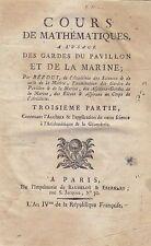 COURS DE MATEMATIQUE Tomo III Algebre di Bezout - Baudelot Et Eberhart 1793