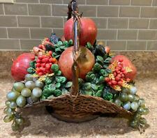 Vtg Mid Century Artificial Faux Fruit Basket Fruit Apples, Grapes, Berries